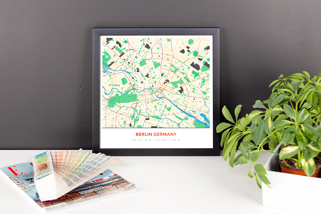 Framed Map Poster of Berlin Germany - Simple Colorful - Berlin Map Art