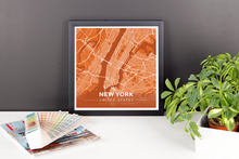 Framed Map Poster of New York United States - Modern Burnt
