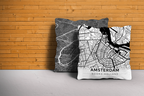 Map Throw Pillow of Amsterdam Noord-Holland - Modern Black Ink