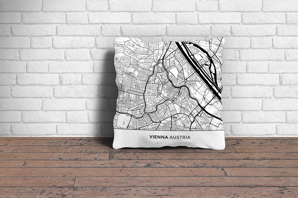 Map Throw Pillow of Vienna Austria - Simple Black Ink