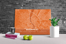 Gallery Wrapped Map Canvas of Budapest Hungary - Modern Burnt - Budapest Map Art