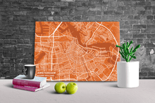 Gallery Wrapped Map Canvas of Amsterdam Noord-Holland - Subtle Burnt