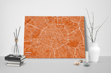Gallery Wrapped Map Canvas of Paris France - Subtle Burnt