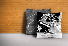 Map Throw Pillow of Abu Dhabi United Arab Emirates - Modern Black Ink - Abu Dhabi Map Art