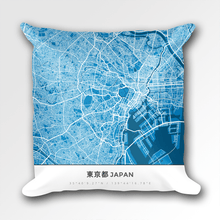 Map Throw Pillow of Tokyo Japan - Simple Blue Contrast