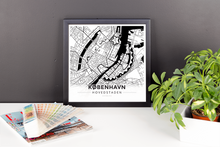 Framed Map Poster of Copenhagen Denmark - Modern Black Ink - Copenhagen Map Art