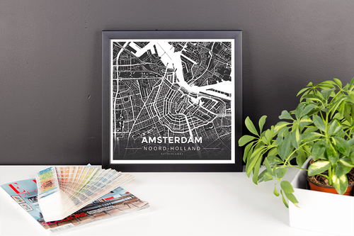 Framed Map Poster of Amsterdam Noord-Holland - Modern Contrast