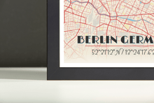 Framed Map Poster of Berlin Germany - Diner Retro - Berlin Map Art