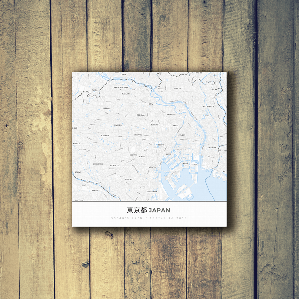 Gallery Wrapped Map Canvas of Tokyo Japan - Simple Ski Map