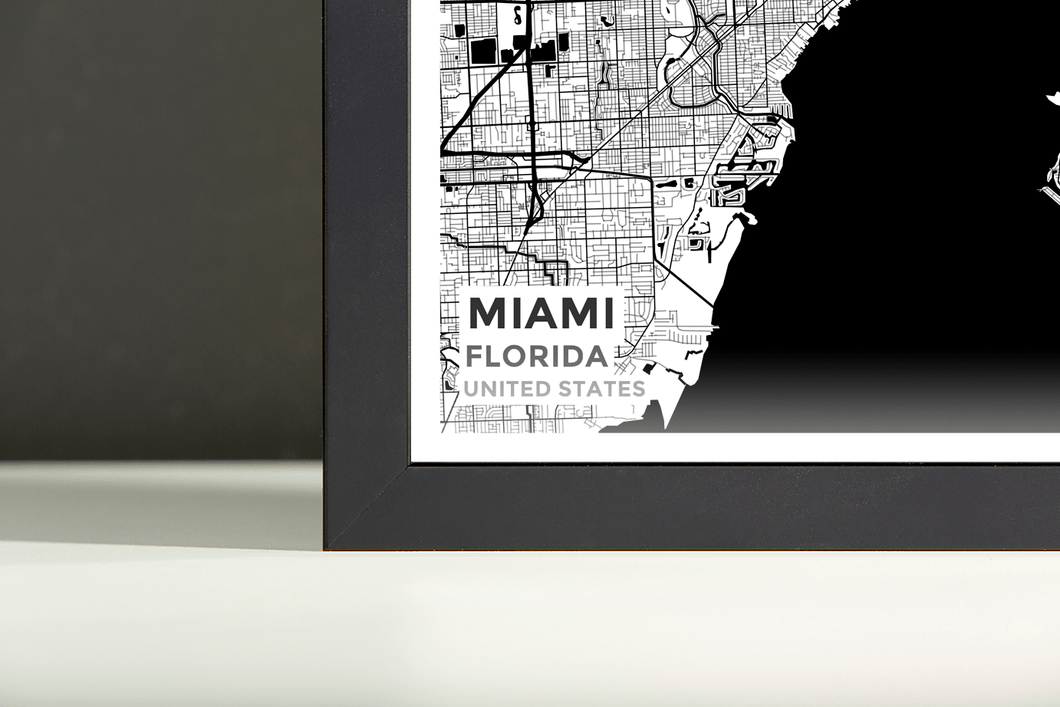 Miami Florida Map.Framed Map Poster Of Miami Florida Map Art Travel Decor Mapprints