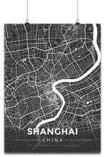 Premium Map Poster of Shanghai China - Modern Contrast - Unframed