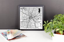 Framed Map Poster of Dallas Texas - Subtle Black Ink - Dallas Map Art