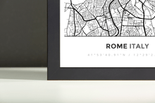 Framed Map Poster of Rome Italy - Simple Black Ink