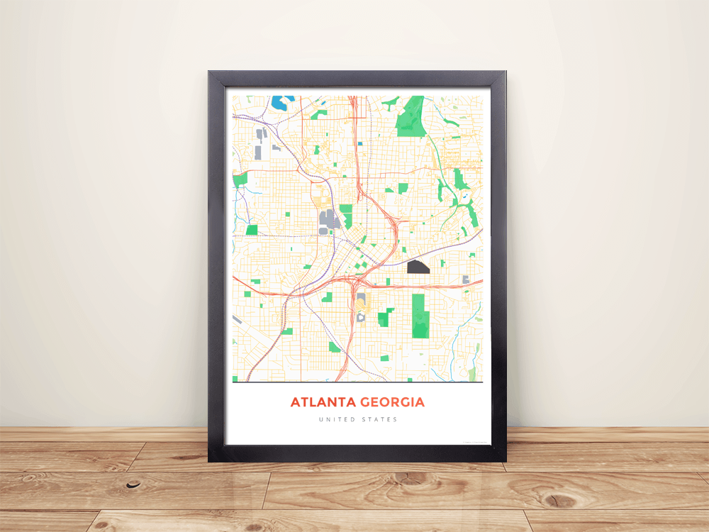 Framed Map Poster of Atlanta Georgia - Simple Colorful - Atlanta Map Art