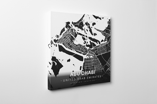 Gallery Wrapped Map Canvas of Abu Dhabi United Arab Emirates - Modern Contrast - Abu Dhabi Map Art