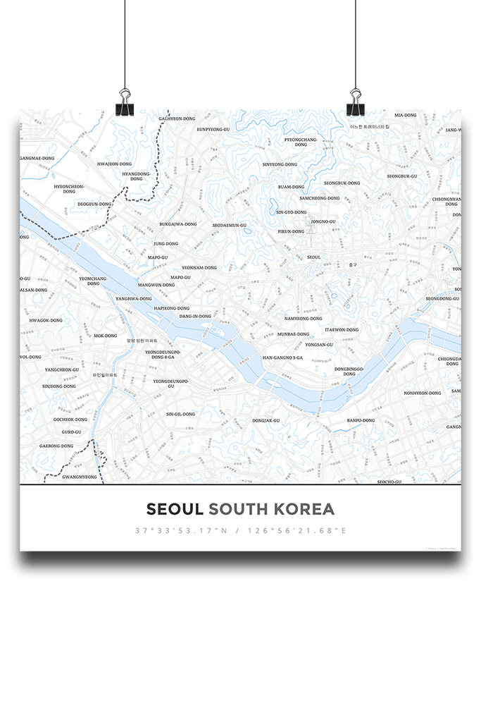 Premium Map Poster of Seoul South Korea - Simple Ski Map - Unframed