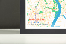 Framed Map Poster of Budapest Hungary - Subtle Colorful - Budapest Map Art