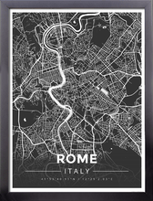 Framed Map Poster of Rome Italy - Modern Contrast