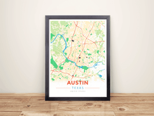 Framed Map Poster of Austin Texas - Modern Colorful - Austin Map Art
