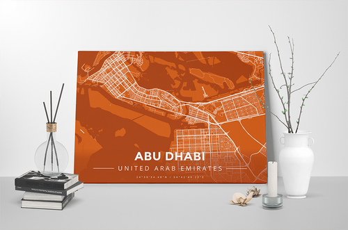 Gallery Wrapped Map Canvas of Abu Dhabi United Arab Emirates - Modern Burnt - Abu Dhabi Map Art