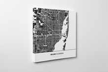 Gallery Wrapped Map Canvas of Miami Florida - Simple Contrast - Miami Map Art