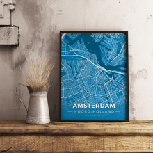 Premium Map Poster of Amsterdam Noord-Holland - Modern Blue Contrast - Unframed