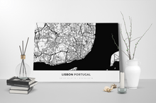 Gallery Wrapped Map Canvas of Lisbon Portugal - Simple Black Ink - Lisbon Map Art