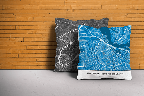 Map Throw Pillow of Amsterdam Noord-Holland - Simple Blue Contrast