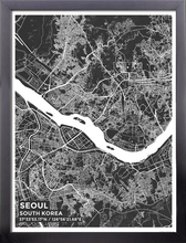 Framed Map Poster of Seoul South Korea - Subtle Contrast