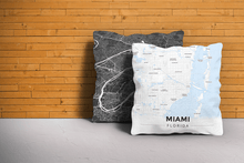 Map Throw Pillow of Miami Florida - Modern Ski Map - Miami Map Art