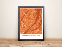 Framed Map Poster of Copenhagen Denmark - Simple Burnt - Copenhagen Map Art