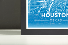 Framed Map Poster of Houston Texas - Modern Blue Contrast - Houston Map Art