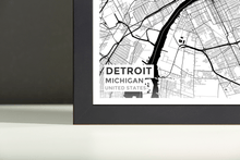 Framed Map Poster of Detroit Michigan - Subtle Black Ink - Detroit Map Art