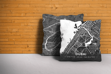 Map Throw Pillow of Dubai United Arab Emirates - Modern Contrast