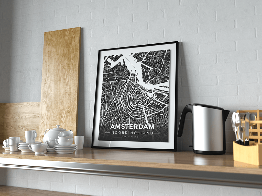 Premium Map Poster of Amsterdam Noord-Holland - Modern Contrast - Unframed