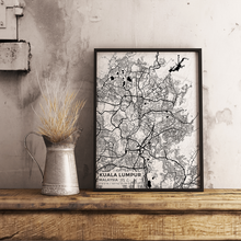 Premium Map Poster of Kuala Lumpur Malaysia - Subtle Black Ink - Unframed