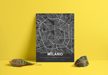 Premium Map Poster of Milano Italy - Modern Contrast - Unframed