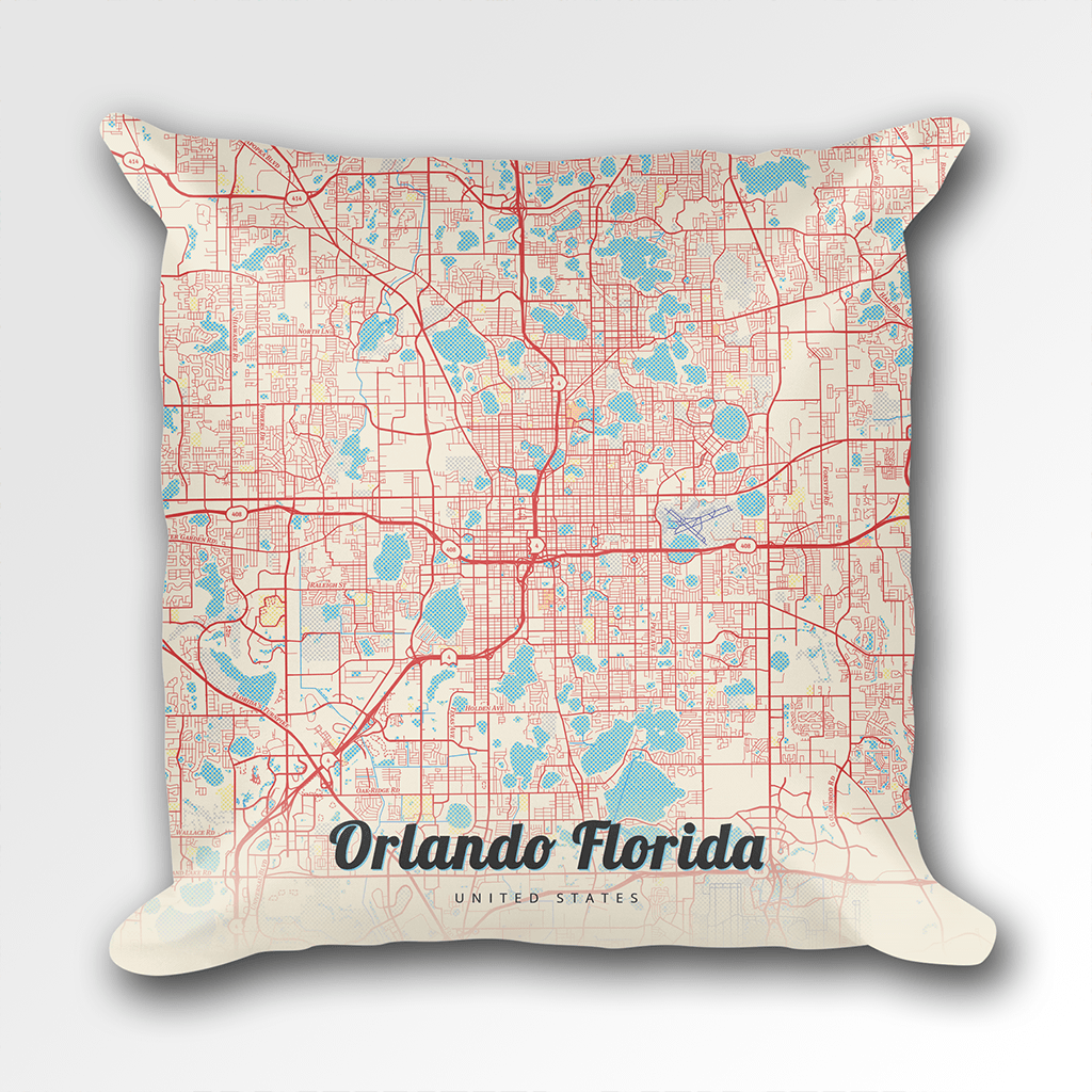 Orlando Florida Map.Map Throw Pillow Of Orlando Florida Map Art Travel Decor Mapprints