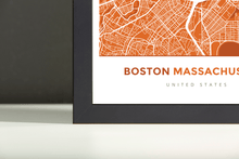 Framed Map Poster of Boston Massachusetts - Simple Burnt - Boston Map Art