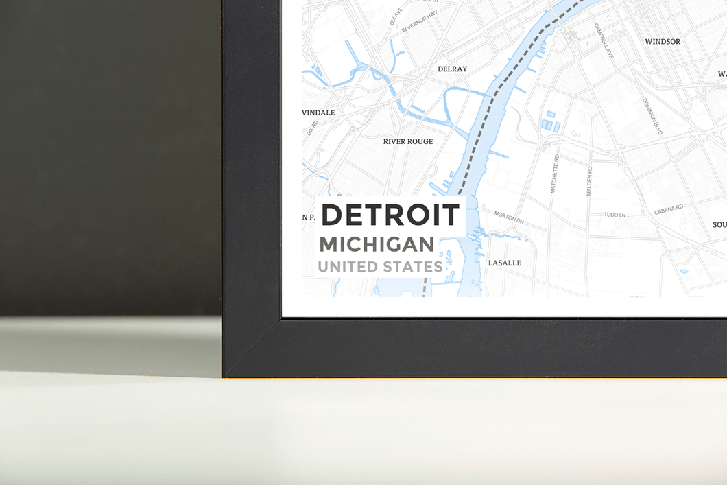 Framed Map Poster of Detroit Michigan - Subtle Ski Map - Detroit Map Art