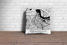 Map Throw Pillow of Amsterdam Noord-Holland - Simple Black Ink