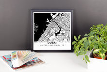 Framed Map Poster of Dubai United Arab Emirates - Modern Black Ink