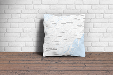 Map Throw Pillow of Barcelona Spain - Subtle Ski Map