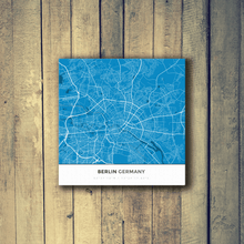 Gallery Wrapped Map Canvas of Berlin Germany - Simple Blue Contrast - Berlin Map Art