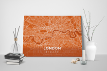 Gallery Wrapped Map Canvas of London England - Modern Burnt