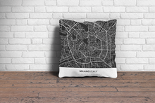 Map Throw Pillow of Milano Italy - Simple Contrast