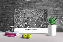 Gallery Wrapped Map Canvas of Bangkok Thailand - Simple Contrast