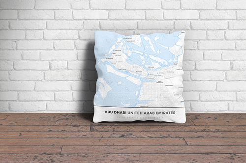 Map Throw Pillow of Abu Dhabi United Arab Emirates - Simple Ski Map - Abu Dhabi Map Art