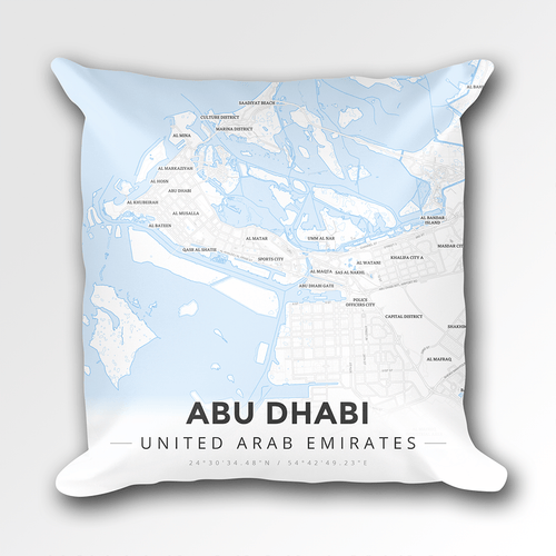 Map Throw Pillow of Abu Dhabi United Arab Emirates - Modern Ski Map - Abu Dhabi Map Art