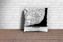 Map Throw Pillow of Lisbon Portugal - Modern Black Ink - Lisbon Map Art